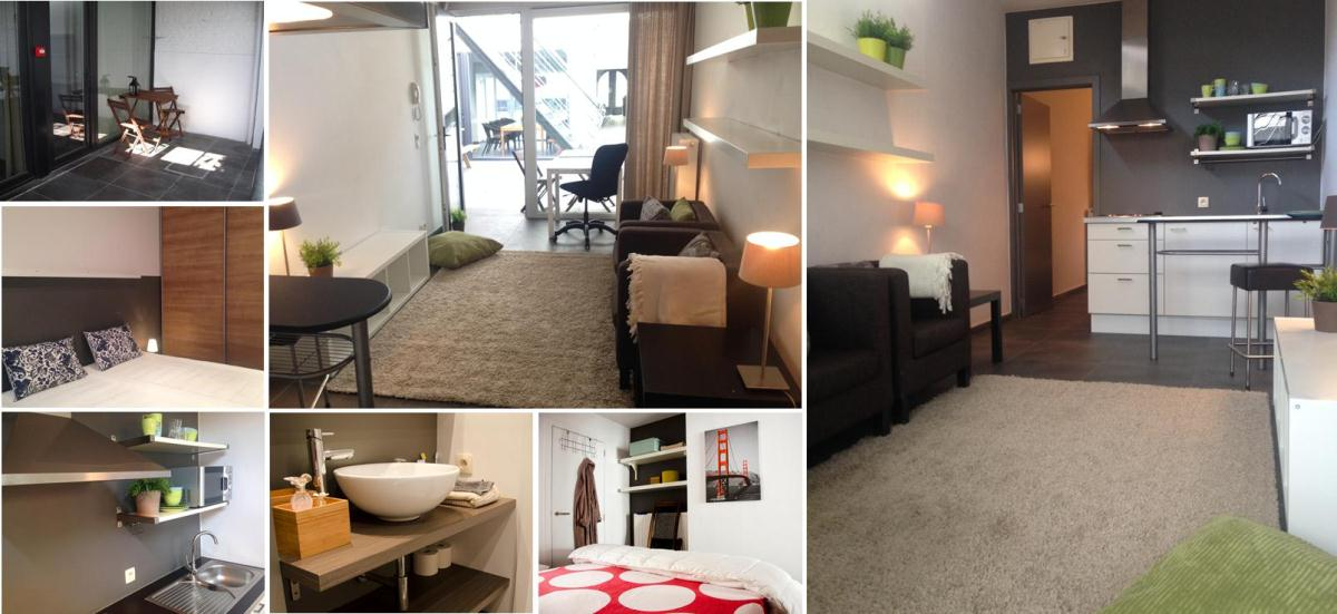 de studio's 11,12,13,14 met afzonderlijke slaapkamer. Je richt ze in naar je eigen smaak : cosy, strak, design,...