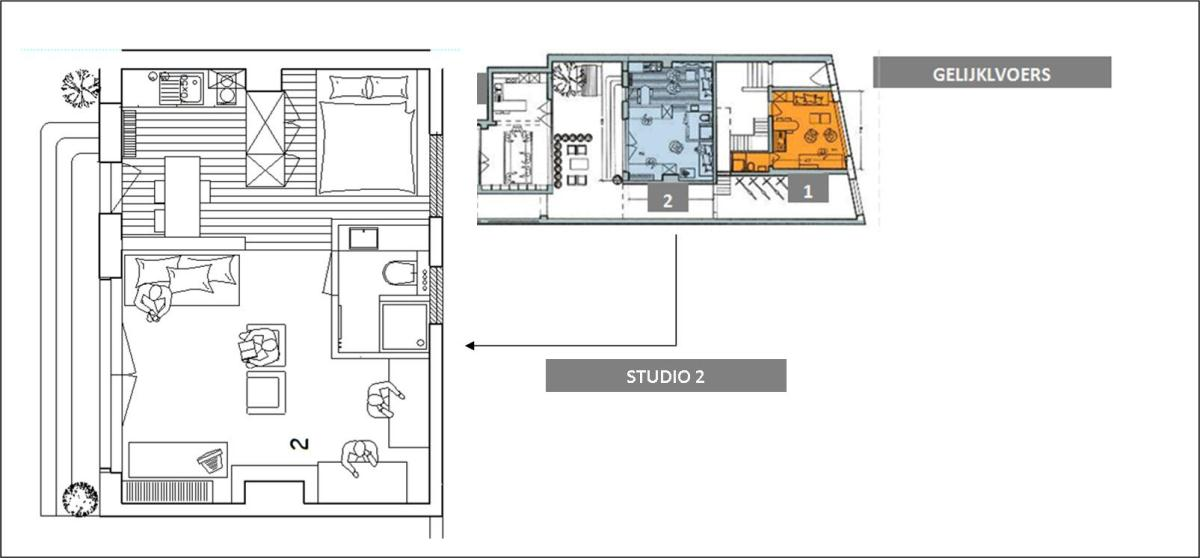 de ligging van de studio op het gelijkvloers van het hoofdgebouw