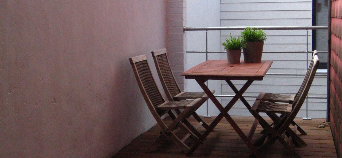 het privé terras van studio 5