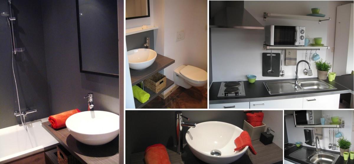 Badkamer met ligbad waarin je kan douchen. Verder een lavabo en hangtoilet.  Je hebt ook een eigen keukenblok.